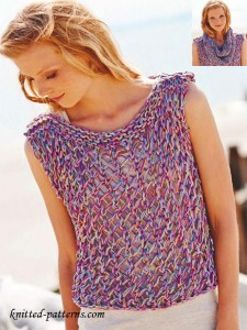 Knit sleeveless top and snood  free patterns