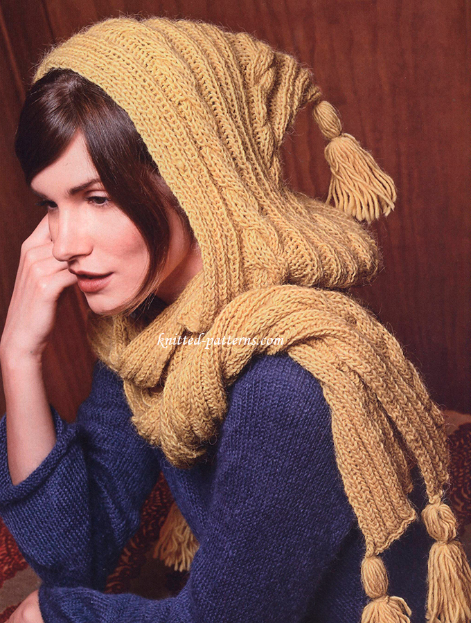 Knitting Patterns For Women s Scarf : Hooded scarf