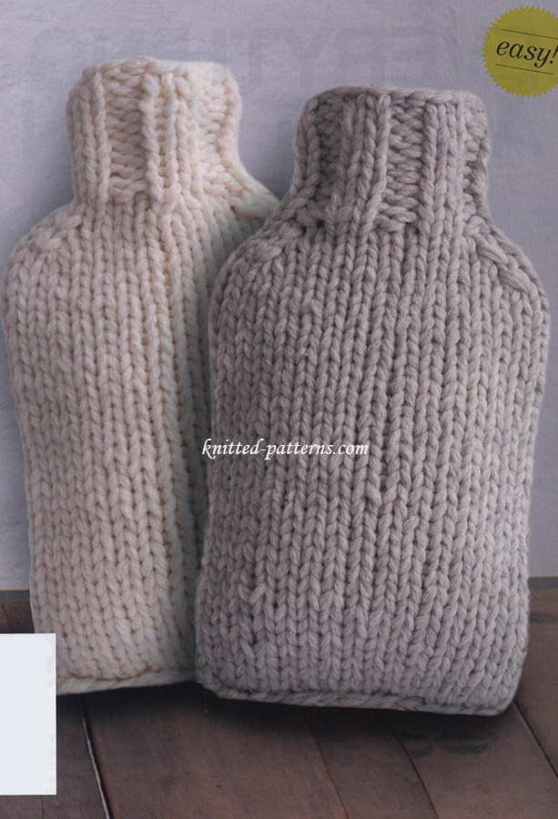 Easy Hot Water Bottle Knitting Pattern : Hot water bottle covers