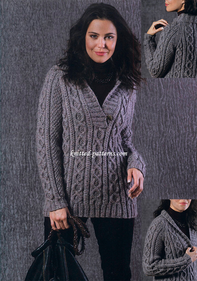 Ladies Knitting Patterns : Irish Tweed Pullover