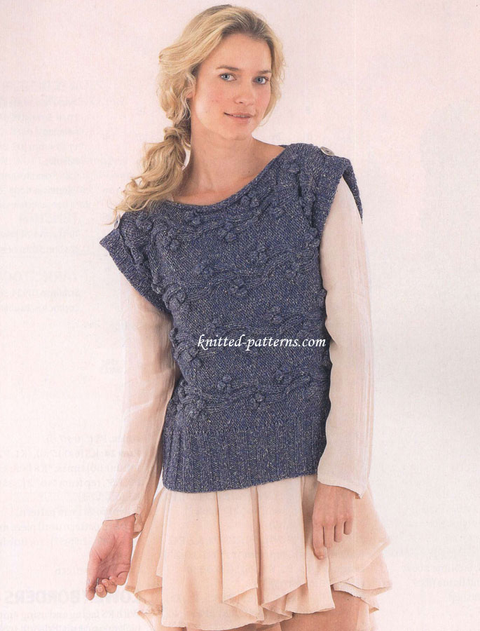 Knitting Patterns For Vest Tops : Sleeveless sweater