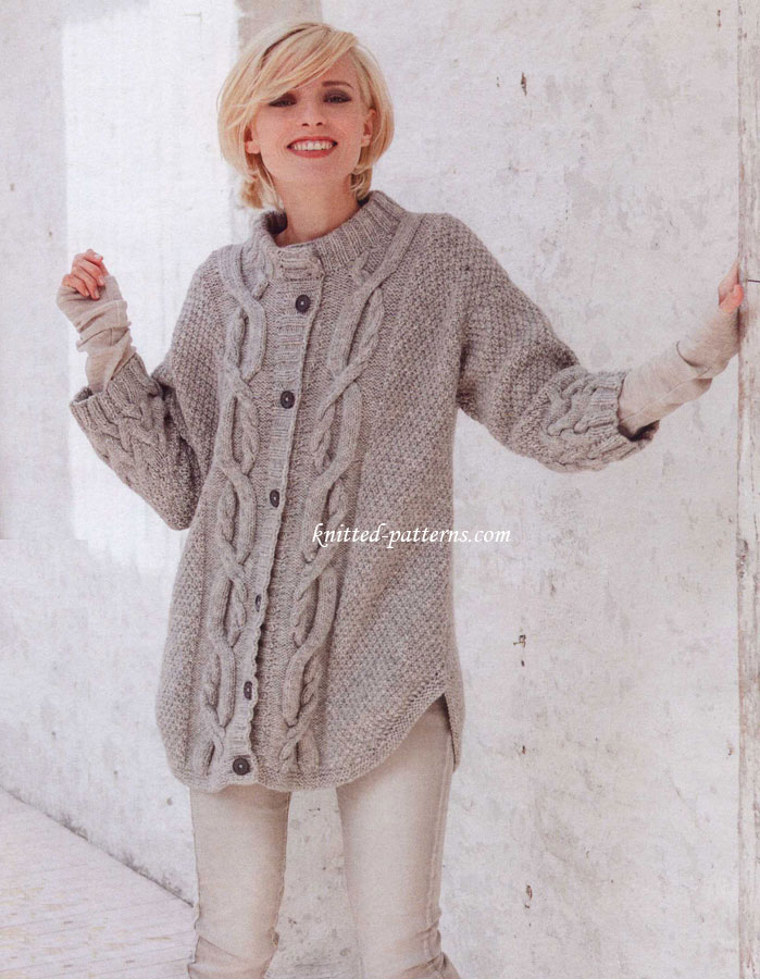 Knitting Stitches Pattern : Knit Cardigan Patterns - Long Sweater Jacket