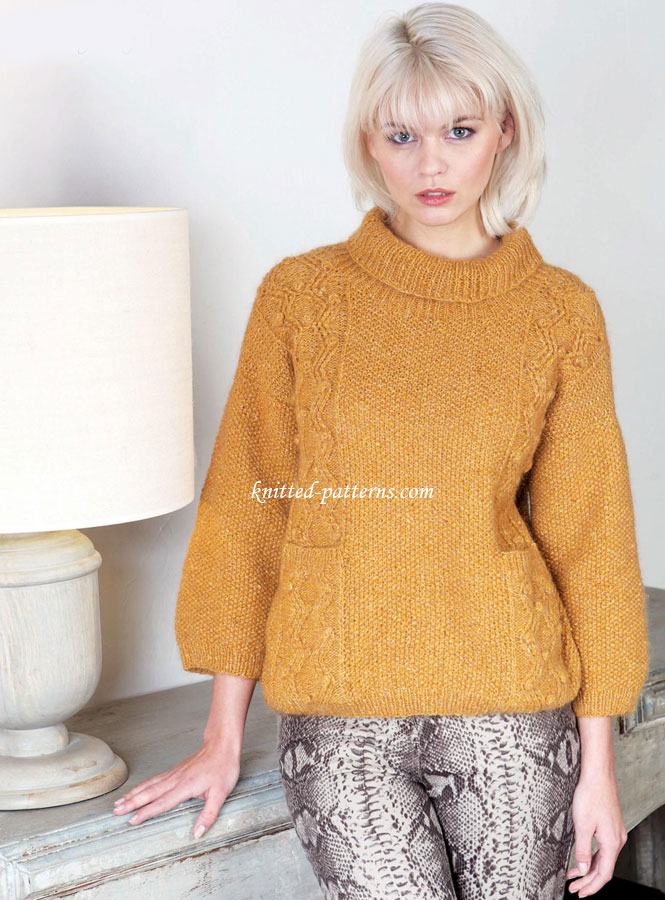 Knitting Pattern For Oxfam Jumper : Bobble and cable jumper
