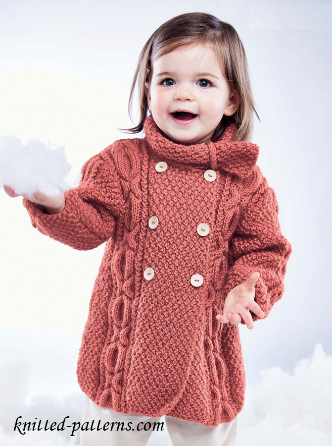 Knitting Patterns For Girl Sweaters : Girls Cable Coat