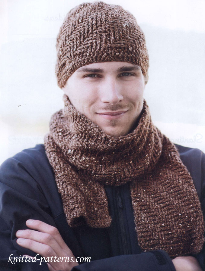 Free crochet men\'s hat and scarf patterns