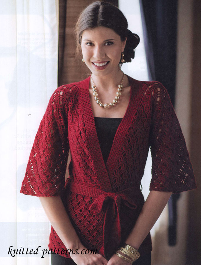 Free Crochet Patterns For Kimono Sweater : Crochet womens cardigans