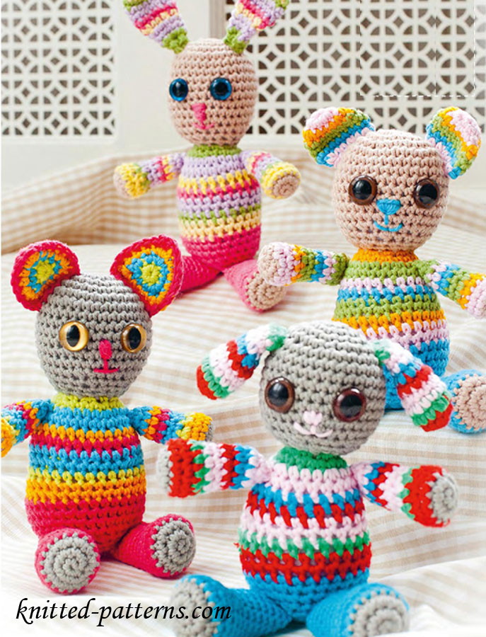 Free Knitting Patterns For Beginners Toys : Bright Cuddly Toys
