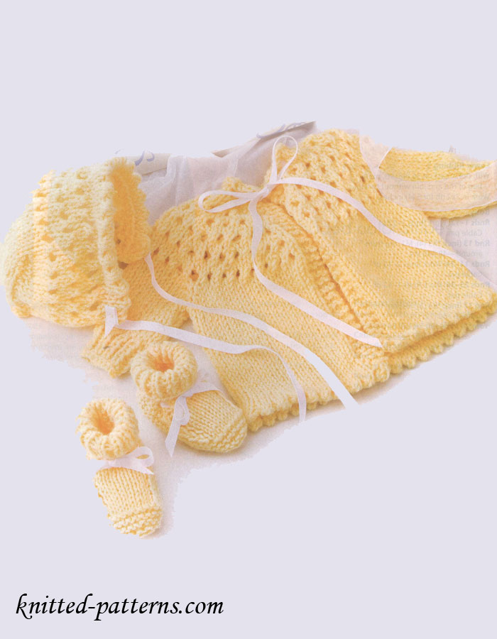Newborn Knit Set - Sweater Bonnet Booties