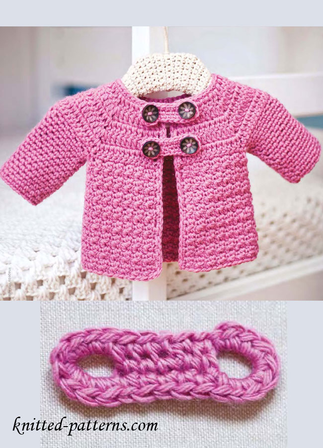 Free Crochet Jacket Patterns For Babies : Buttoned Baby Jacket