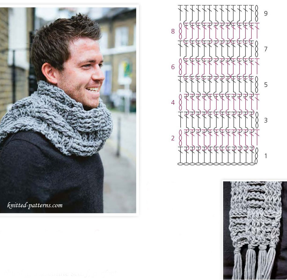 Crochet Stitch Rtrf : Mens scarf free crochet pattern