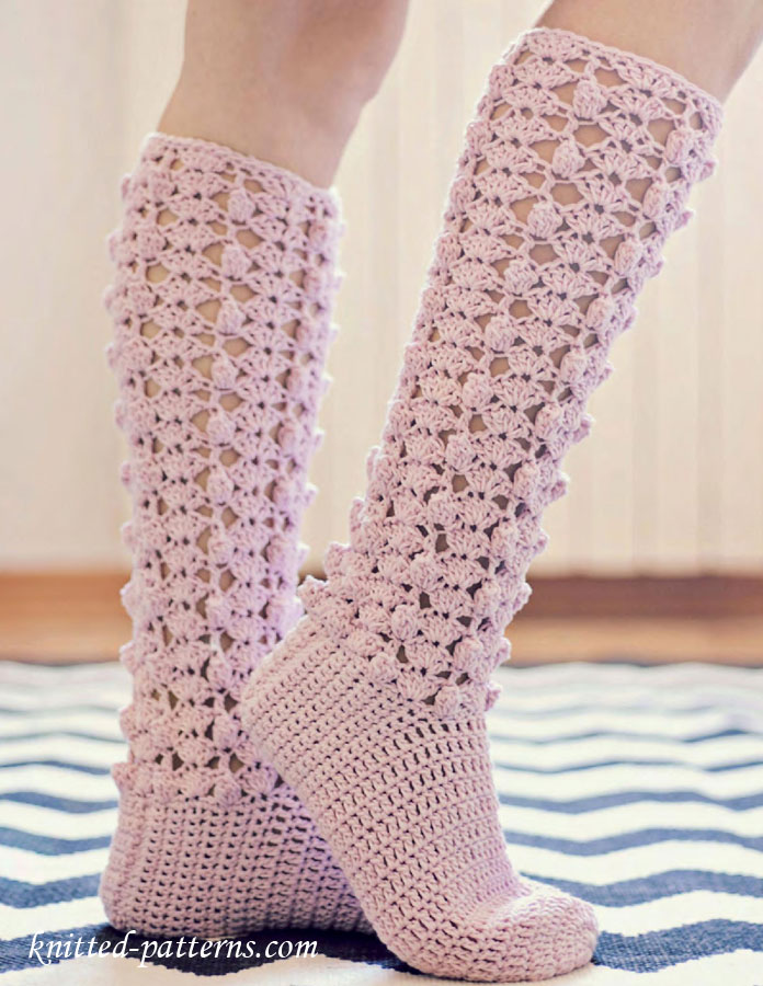 Crochet Socks : Crochet Knee High Socks