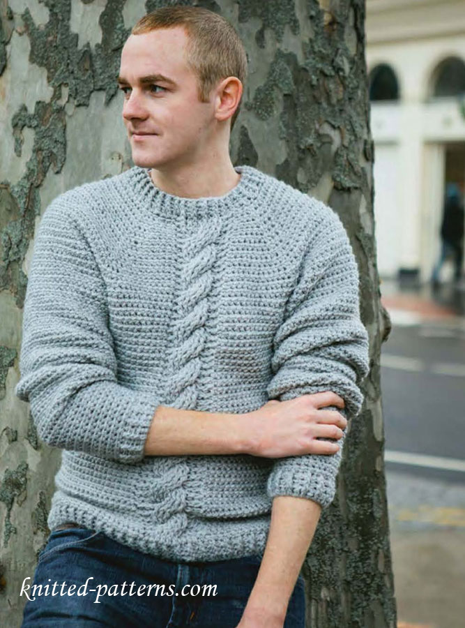 Free Crochet Pattern For Cabled Sweater : Mens pullovers and sweaters knitting patterns