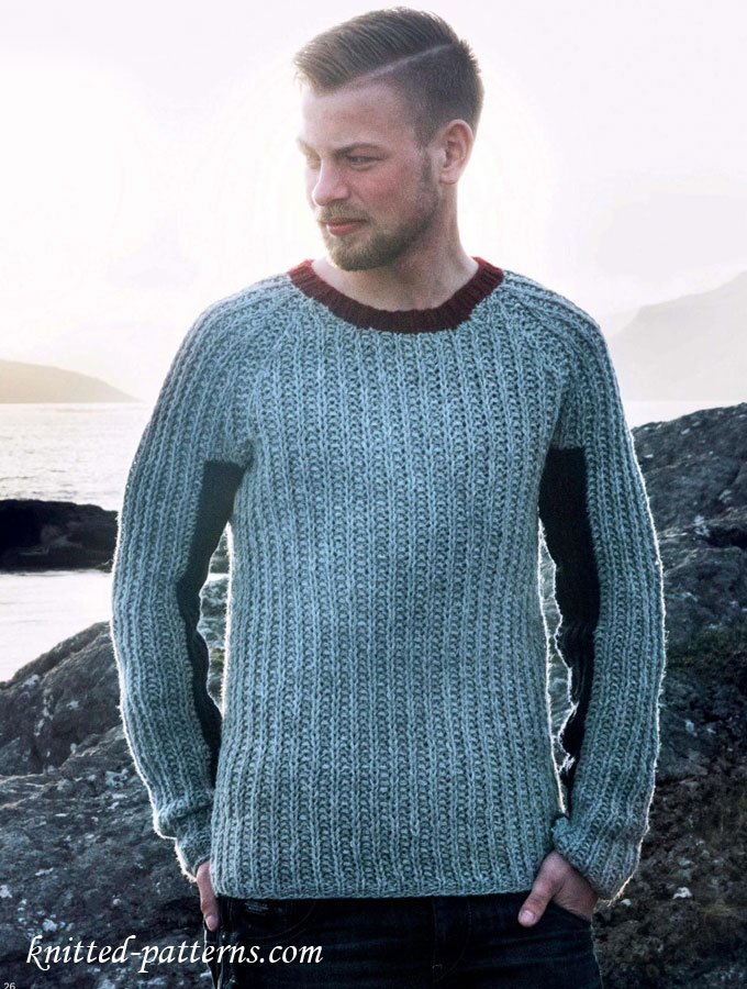 Free Knitting Patterns For Mens Cardigans : Half Fishermans Rib Raglan Jumper