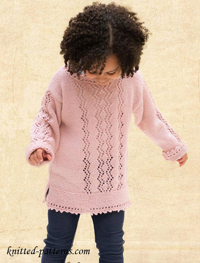 Free Knitting Patterns Girls : Zigzag sweater for girl