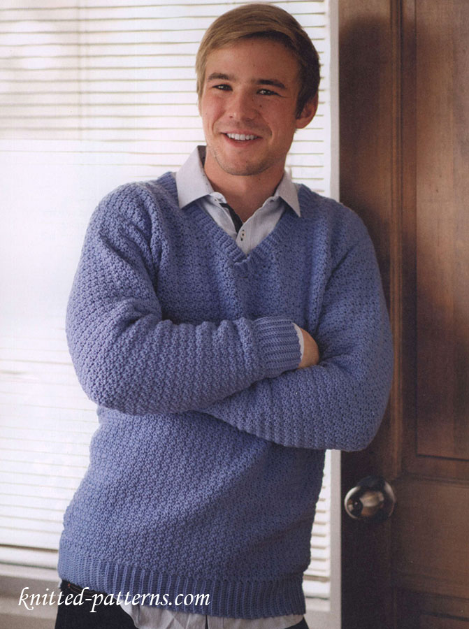 Free Knitting Patterns For Mens Cardigans : Mens v-neck sweater free crochet pattern