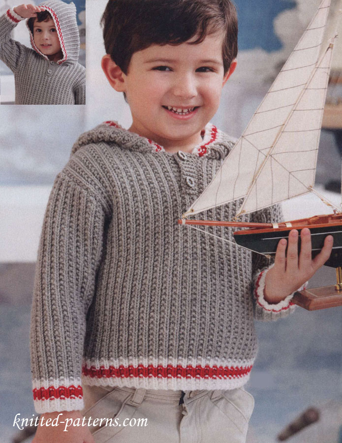 Knitting Pattern Hoodie Child : Free childs hoodie knitting pattern