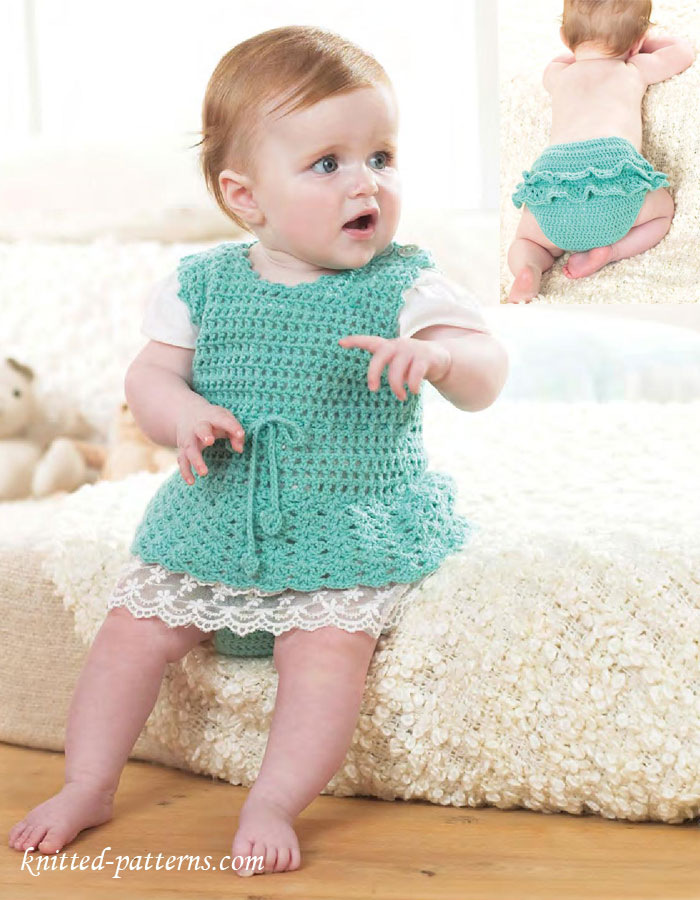 Knitting Patterns Toddlers Trousers : Crochet Baby Set: Pinafore Dress & Pants