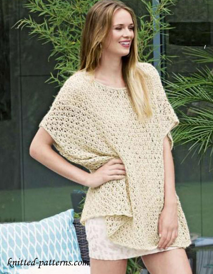 Knitting Pattern For Lace Poncho : Summer Lace Poncho