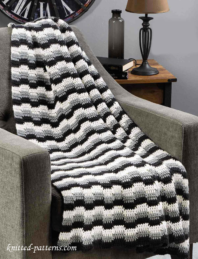 Free Crochet Patterns Zig Zag Afghan : fun, zigzag stripe pattern creates interesting color steps and edges ...