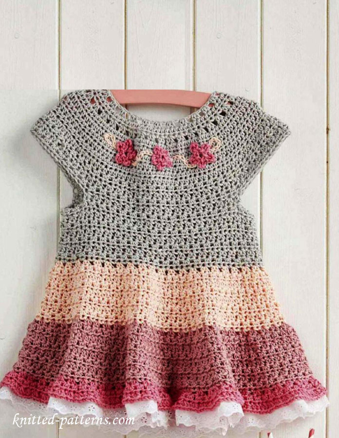 Crochet Stitches For Dresses : Tiered dress for girl