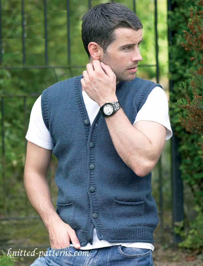Knitting Pattern Central Men s Vests : Man s Waistcoat Free Knitting Pattern