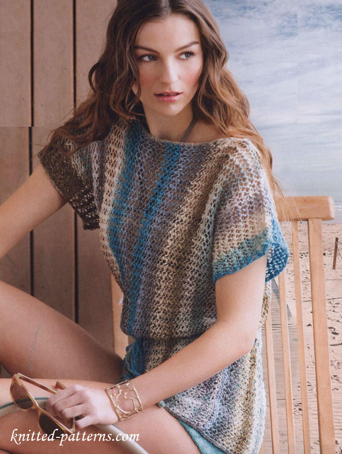 Free Knitting Patterns For Ladies Lace Tops : Lace tee knitting pattern free