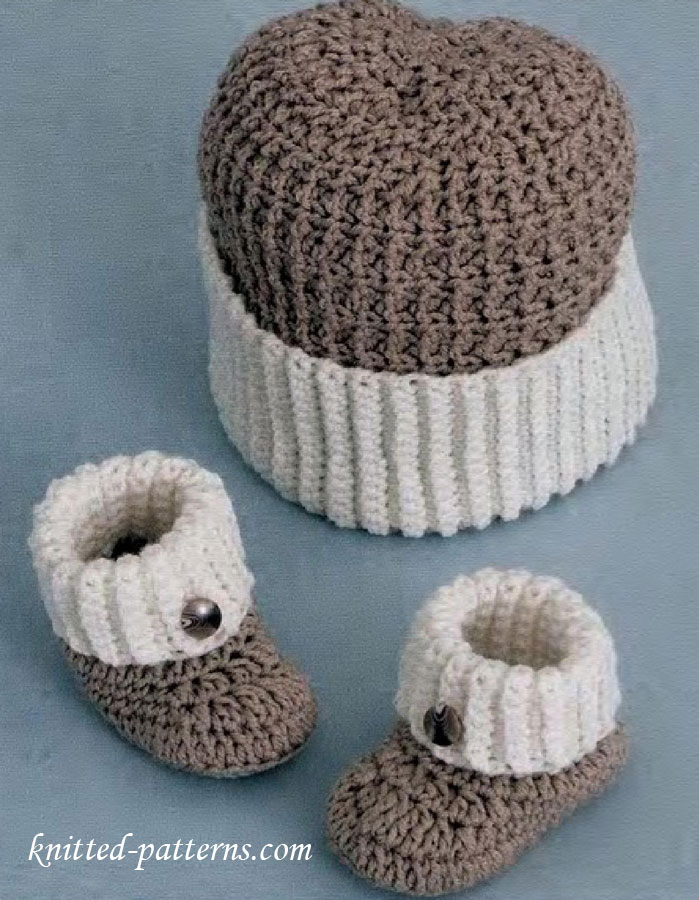 Knitted Baby Boy Hat Patterns : Baby boy booties and hat crochet pattern free