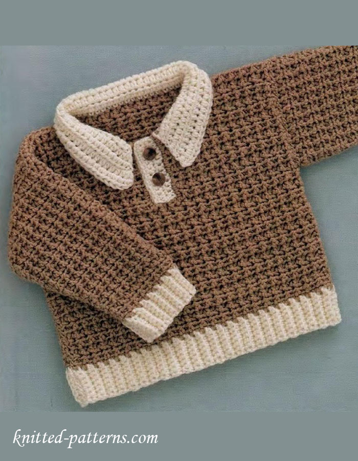 Free Knitting Patterns For Children s Pullovers : Baby-boy pullover crochet free pattern