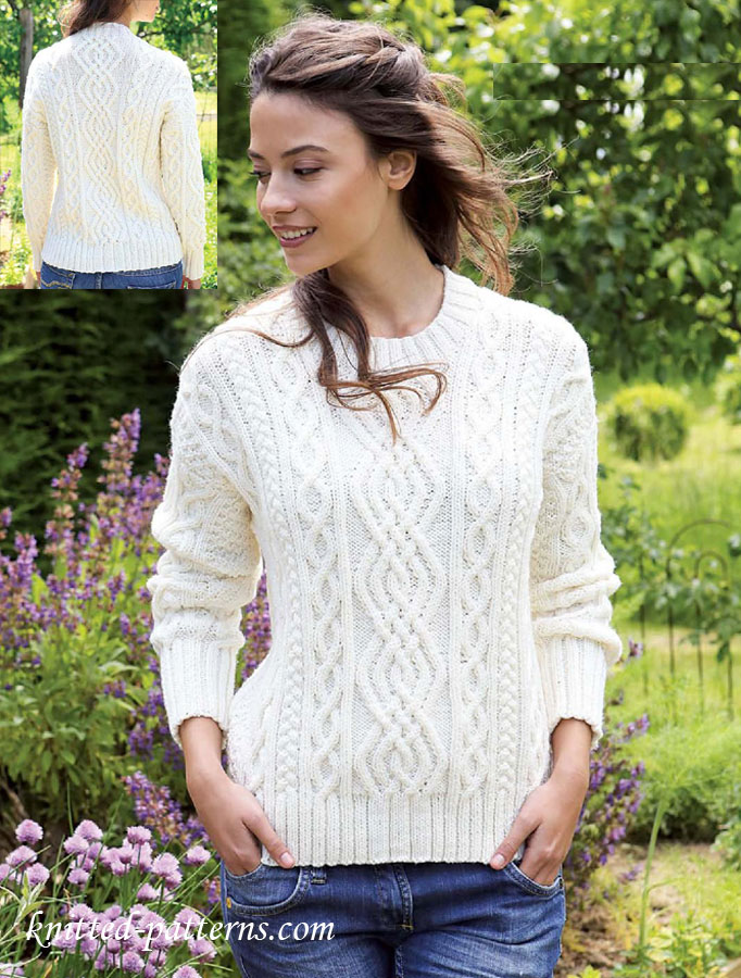 Ladies Knitting Patterns : Womens aran jumper knitting pattern free