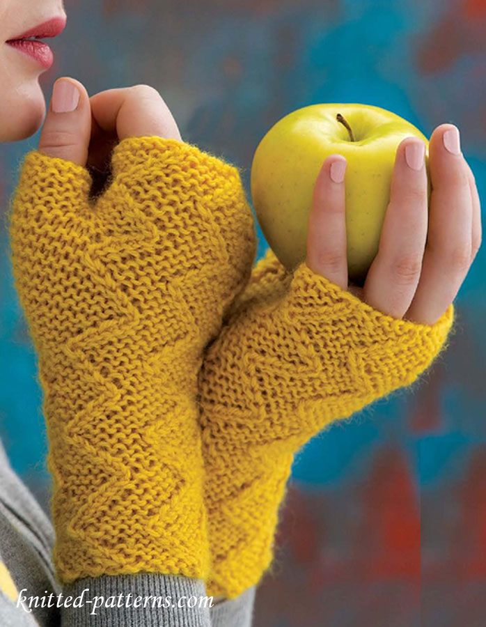 Knitting Pattern For Childrens Gloves With Fingers : Zigzag Mitts Knitting Pattern Free