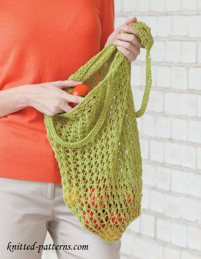 Lacy market bag knitting pattern free