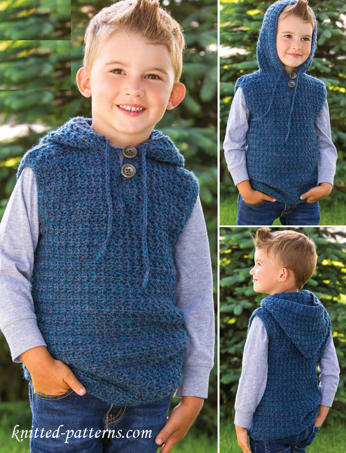 Vest Knitting Pattern For Children : Childrens hooded vest crochet pattern free