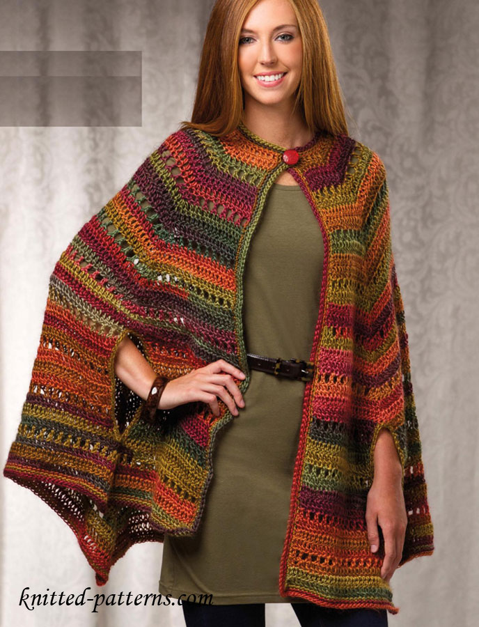 Knitting Pattern Cape Arm Slits : Crochet Cape Pattern Free