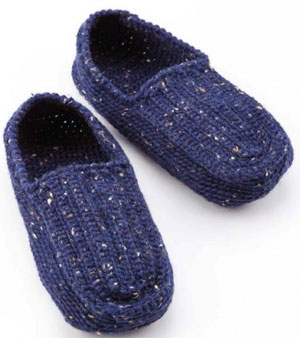 Knitting Pattern Central Men s Slippers : Mens Slippers Crochet Pattern Free