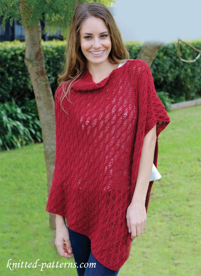 Pattern For Knitted Poncho : Free womens ponchos knitting patterns