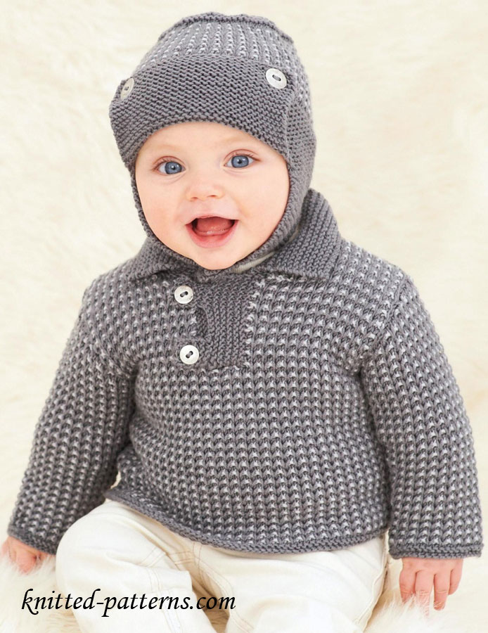 Baby Jumper Knitting Pattern Free : Baby jumper and helmet knitting pattern free