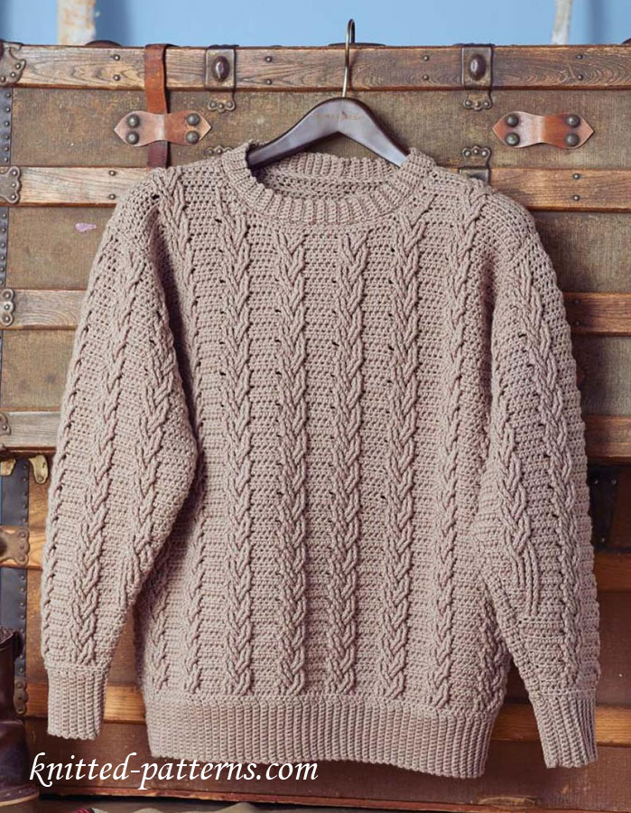 Free Crochet Pattern For Cabled Sweater : Mens Crochet Sweater Pattern Free