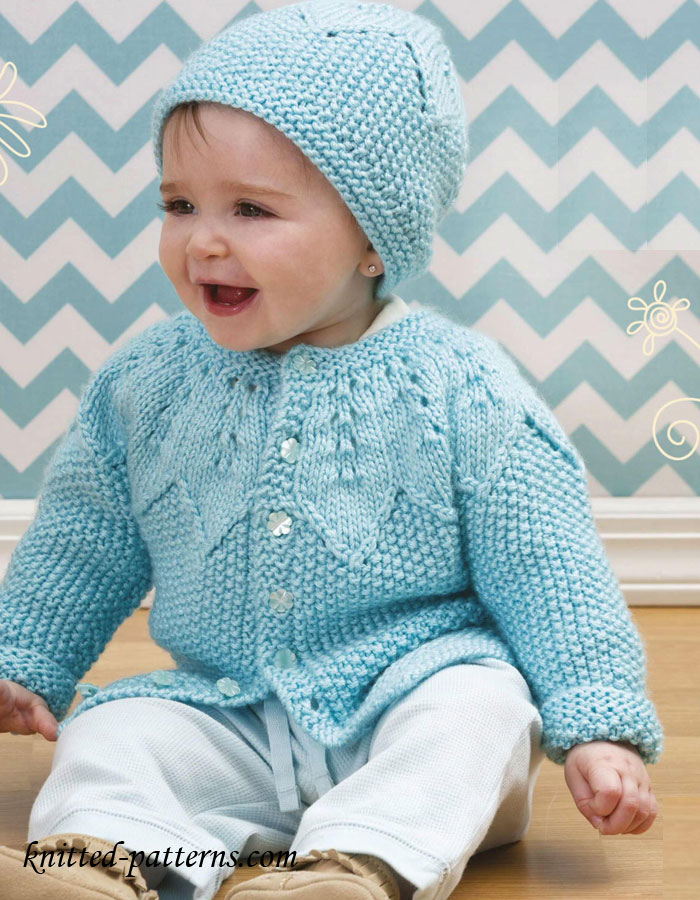 Baby Girl Knitted Sweater Pattern : Baby cardigan and hat knitting pattern free