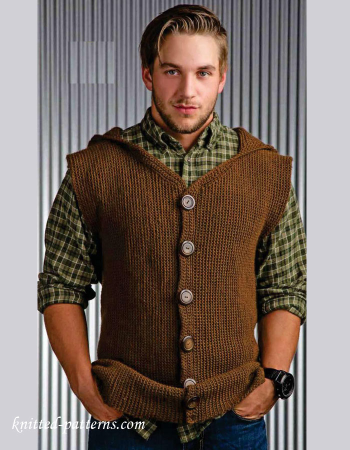 Knitting Pattern Central Men s Vests : Mens sleeveless jacket crochet pattern free