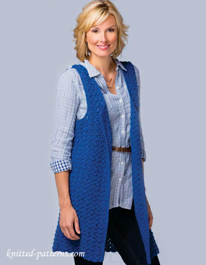 Women\'s sleeveless jacket crochet pattern free