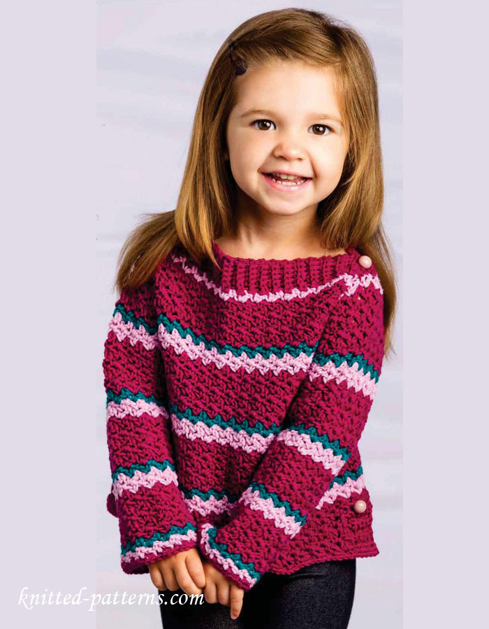 Knitting Patterns For Girl Sweaters : Little girl crochet sweater pattern free