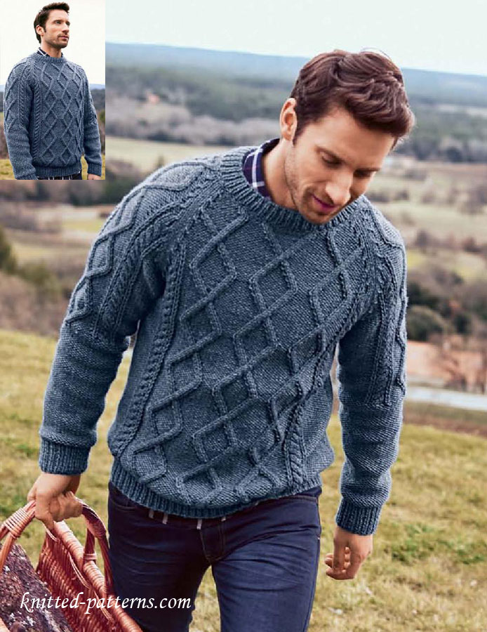 Free Knitting Pattern Mens Chunky Jumper : Mens Cable Sweater Knitting Pattern Free