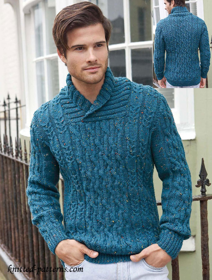 Free Knitting Patterns For Mens Cardigans : Mens cable jumper knitting pattern free