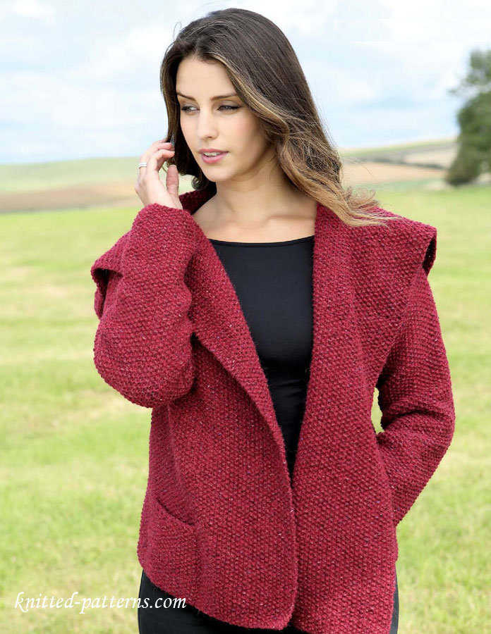 Knitted Jacket Pattern : Womens jacket knitting pattern free