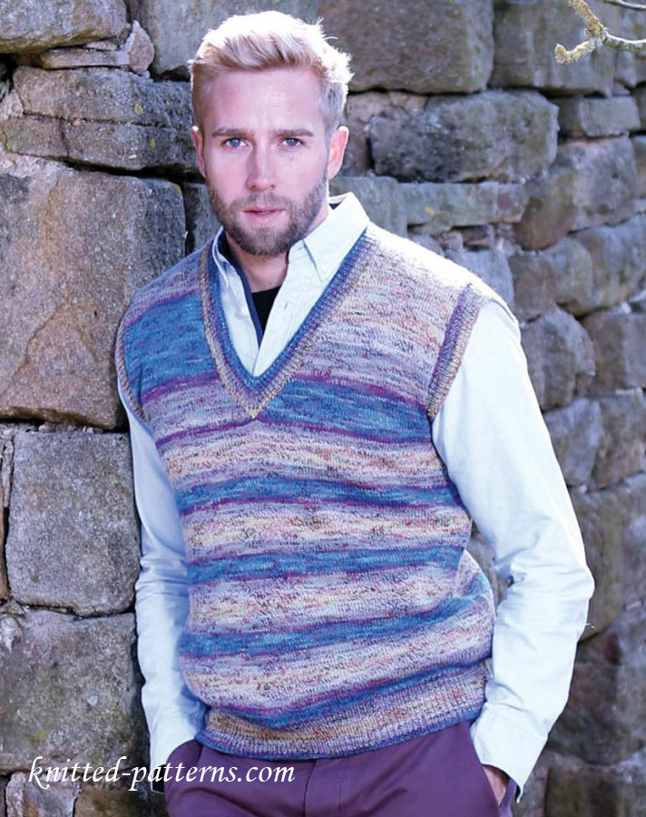 Knitting Pattern Central Men s Vests : Mens slipover knitting pattern free