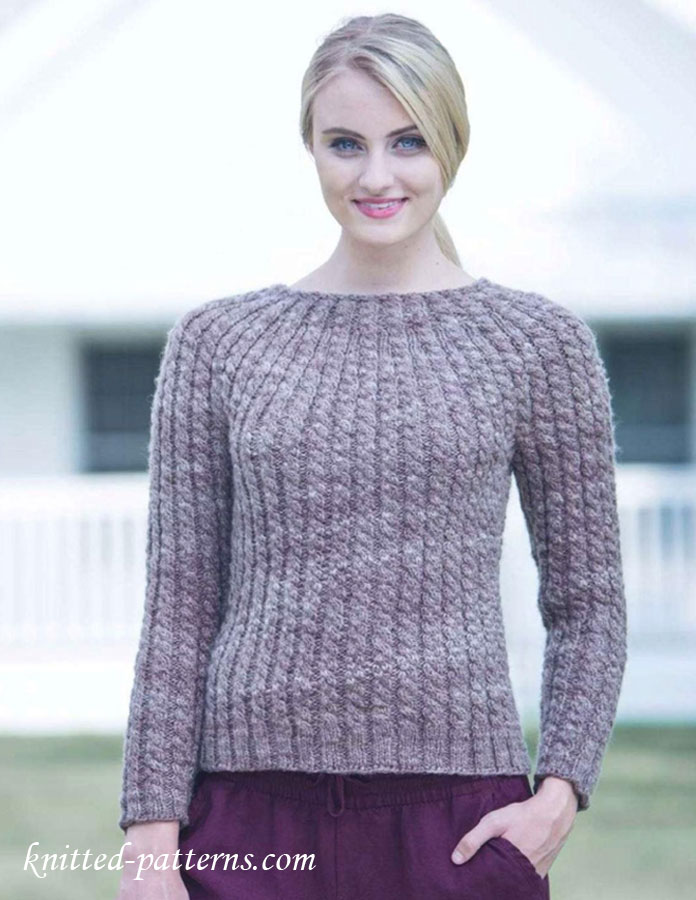 Ladies Knitting Patterns : Round-yoke pullover knitting pattern free