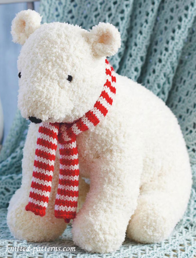Easy Knit Boot Cuff Pattern Free : Polar bear toy knitting pattern free