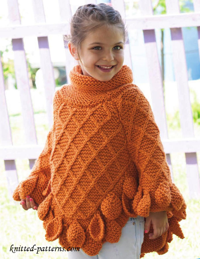 Free Knitting Patterns For Children s Pullovers : Poncho pullover knitting pattern free