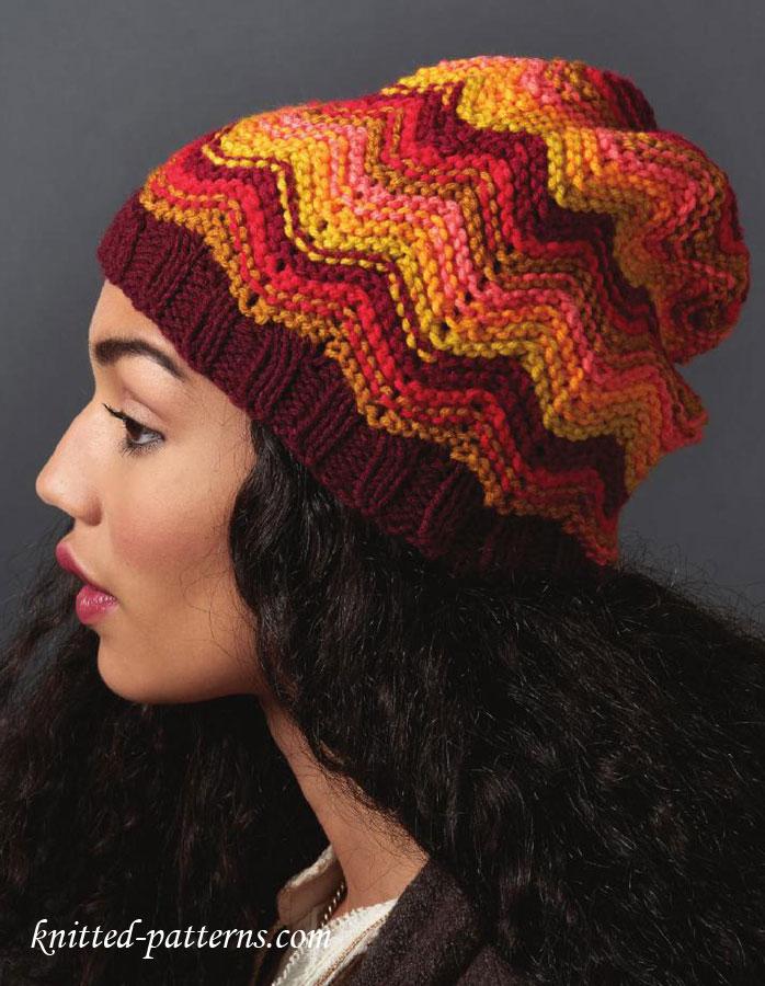 Chevron hat knitting pattern free