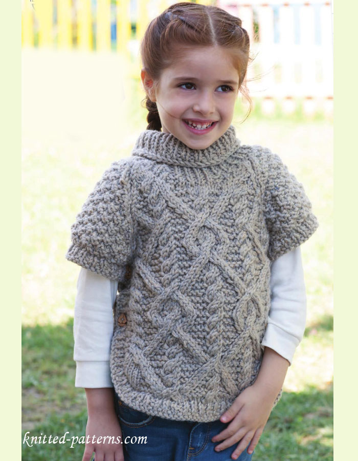 Free Knitting Patterns For Children s Pullovers : Girls raglan pullover knitting pattern free